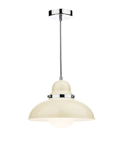 FLDA117-1C Carter 1 Light Pendant Cream and Polished Chrome