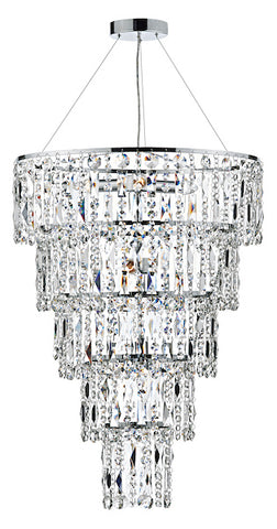 FLDA147 6 Light Round Crystal Pendant