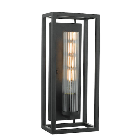 FLDA155 Wall Light Black & Ribbed Glass