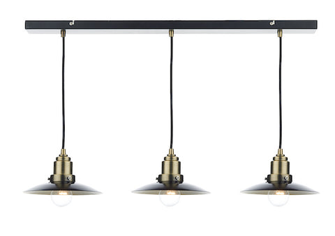 FLDA185-3 Ellis 3 Light Bar Pendant Black/ Antique Brass