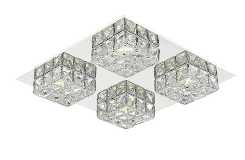FLDA199-F Ezra LED flush glass faceted squares Polished Chrome frame