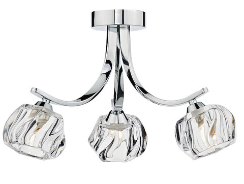 FLDA207-3 Finn 3 Light Semi Flush Polished Chrome