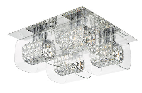 FLDA224 4LT G9 flush polished chrome with crystal beads in clear glass shade