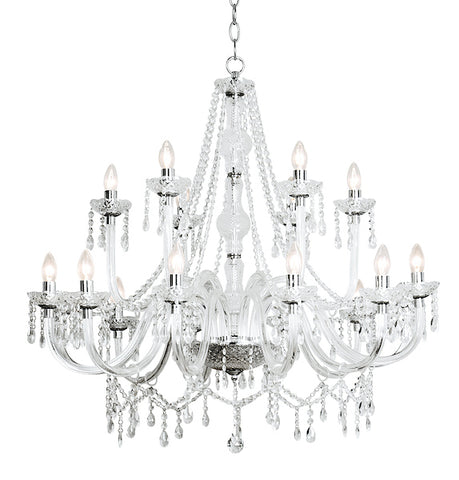 FLDA225-18 Grayson 18 Light Chandelier Dual Mount Acrylic Glass