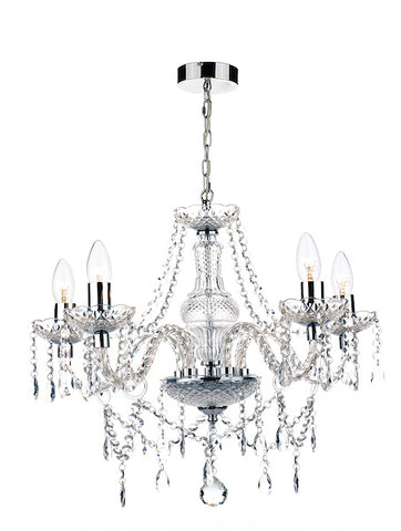 FLDA225-5 Grayson 5 Light Chandelier Polished Chrome Acrylic Glass