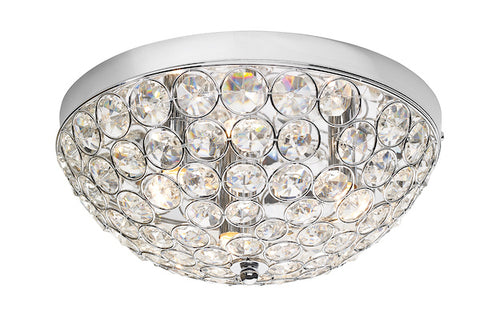 FLDA234-5 Harrison 3 Light Flush In Polished Chrome & Crystal