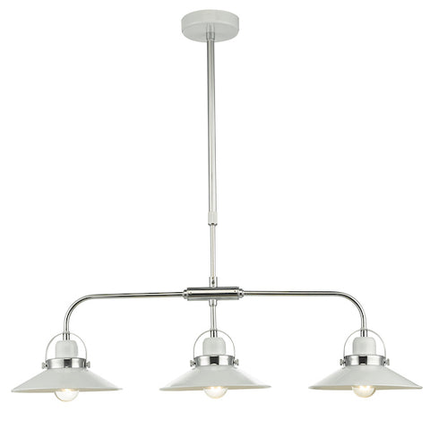 FLDA246-3 Henry 3Lt Bar Pendant White and Polished Chrome