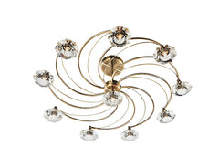 FLDA254-10AB Hunter 10 Light Semi Flush complete with Crystal Glass Antique Brass