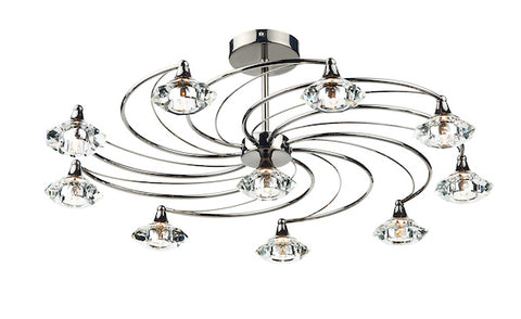 FLDA254-10BC Hunter 10 Light Semi Flush complete with Crystal Glass Black Chrome