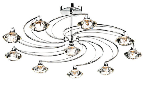 FLDA254-10C Hunter 10 Light Semi Flush complete with Crystal Glass Polished Chrome