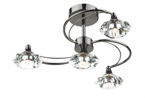 FLDA254-4BC Hunter 4 Light Semi Flush complete with Crystal Glass Black Chrome