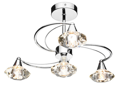FLDA254-4C Hunter 4 Light Semi Flush complete with Crystal Glass Polished Chrome