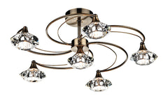 FLDA254-6AB Hunter 6 Light Semi Flush complete with Crystal Glass Antique Brass