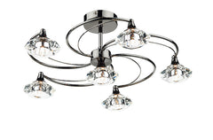 FLDA254-6BC Hunter 6 Light Semi Flush complete with Crystal Glass Black Chrome