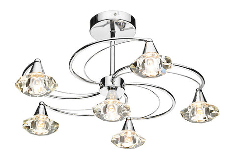 FLDA254-6C Hunter 6 Light Semi Flush complete with Crystal Glass Polished Chrome