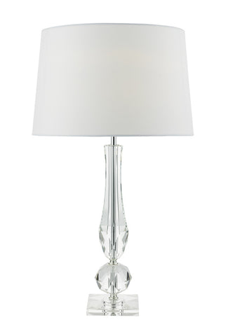 FLDA287 Table Lamp Cut Crystal Base c/w White Faux Silk Lined Shade