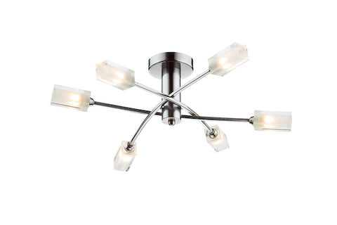 FLDA298-6SC James 6 Light Semi Flush Satin Chrome