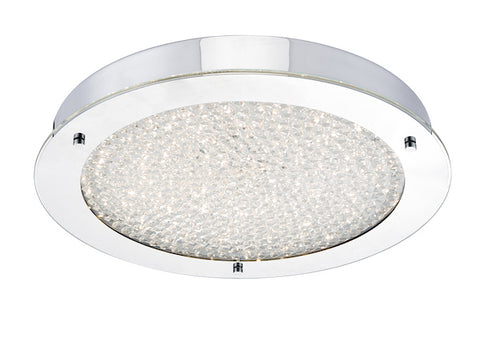 FLDA362 Large LED Flush Polished Chrome & Crystal Beads IP44