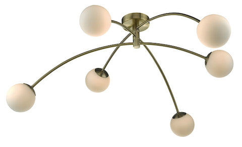 FLDA372 6lt Semi Flush Antique Brass & Opal Glass