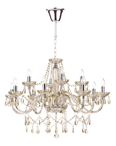 FLDA386-12 Leon 12 Light Chandelier Champagne Crystal