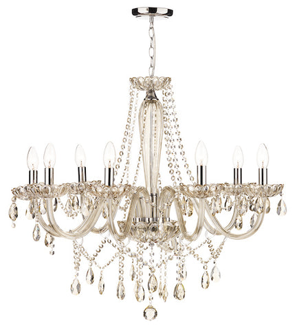 FLDA386-8 Leon 8 Light Chandelier Champagne Crystal