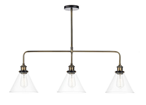 FLDA400-3 Logan 3 Light Bar Pendant Antique Brass Clear