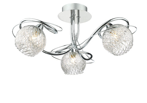 FLDA403-3 Louie 3 Light Semi Flush Decorative Glass Polished Chrome Frame