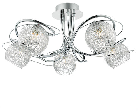 FLDA403-5 Louie 5 Light Semi Flush Decorative Glass Polished Chrome Frame
