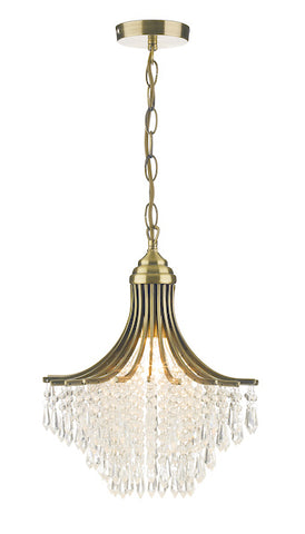 FLDA485-1AB Mason 1 Light Pendant Antique Brass complete with Clear Beads