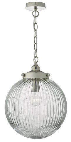 FLDA500-IP Morgan 1lt Pendant Satin Nickel & Ribbed Glass