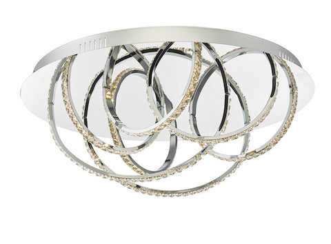 FLDA567-7 Riley 7lt Flush Polished Chrome and Crystal LED