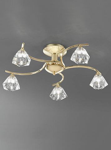FLF0818-5G Willow 5 LightFlush Fitting Brass