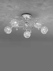 FLF1155-5 Semi Flush Ceiling - Crystal