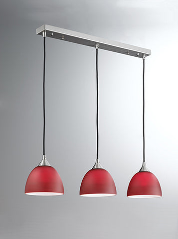 FLF1497-3R Millie Suspension C/W 3 X Red Colour Glasses Satin Nickel