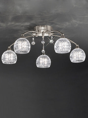 FLF1523-5S Layla 5 Light Fitting Satin Nickel
