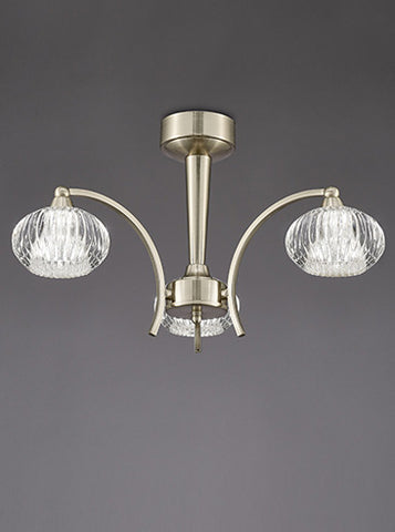 FLF1592-3S Lola 3 Light Ceiling Fitting Satin Nickel