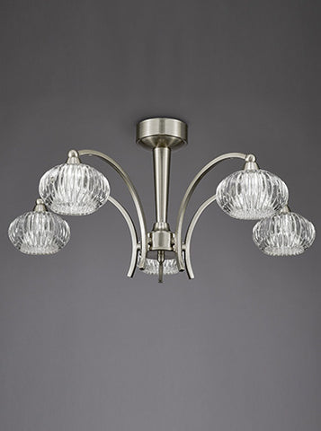 FLF1592-5S Lola 5 Light Ceiling Fitting Satin Nickel