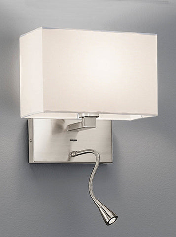 FLF2314 Wall Bracket with LED Reading Light Satin Nickel