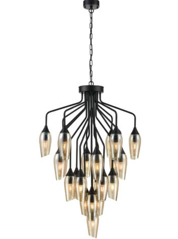 FLF3431-22A Felicity 22 Light fitting in Black with Amber Glass