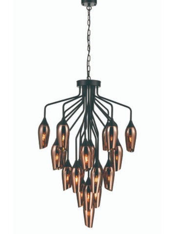 FLF3431-122C Felicity 22 Light Pendant in Black with Copper Glass