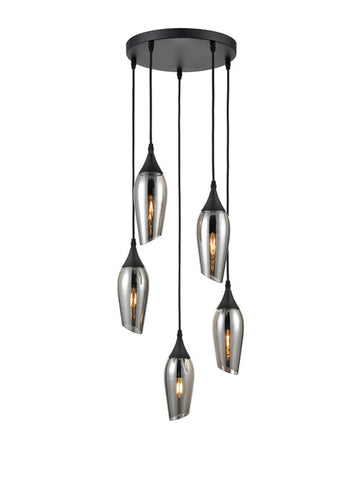 FLF3431-5S Felicity 5 Light Fitting In Black with Smoked Glass