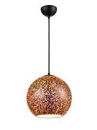 FLF3436-LC Eleanor 1 Light Pendant in Black With 3D Infinty Effect Copper Glass