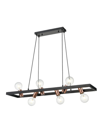 FLF3710-6 Tia 6 Light Fitting in Black Ironwork