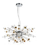 FLF3712 8 Light Pendant in Chrome, Copper & Glass