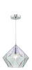 Dar Lighting GAI0150 Gaia 1Lt Pendant Polished Chrome & Glass