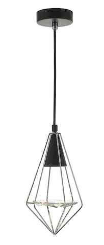 Dar Lighting GIA0150 Gianni 1 Light Pendant Black, Polished Chrome & Glass