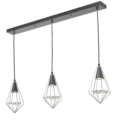 Dar Lighting GIA0350 Gianni 3 Light Pendant Black, Polished Chrome & Glass