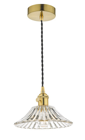 Dar Lighting HAD0140-04 Hadano 1 Light Pendant Natural Brass With Flared Glass Shade