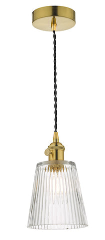 Dar Lighting HAD0140-05 Hadano 1 Light Pendant Natural Brass With Ribbed Glass Shade