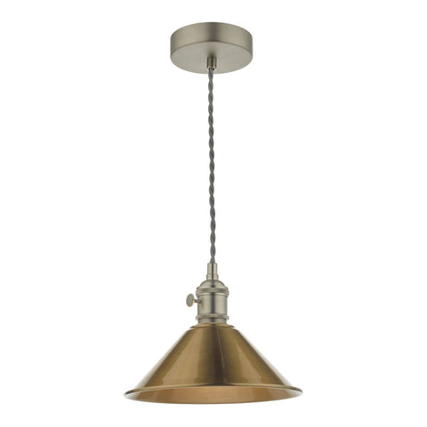 Dar Lighting HAD0161-01 Hadano 1 Light Pendant Antique Chrome With Aged Brass Shade